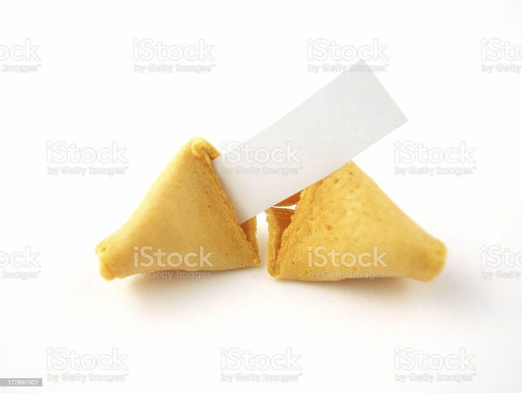 Blank Fortune Cookie on White royalty-free stock photo