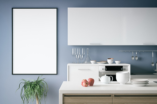 Blank picture frame with  kitchen appliances