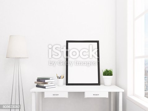 istock Blank frame in the table 505623052