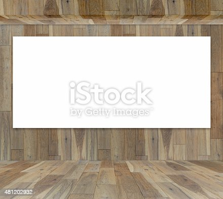 istock Blank frame in wood room for information message 481202932