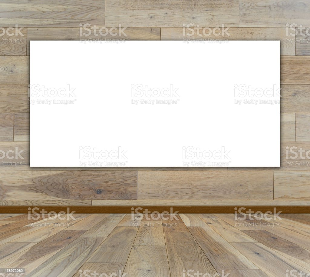 Blank frame in wood room stock photo