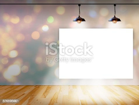 istock Blank frame on bokeh background with Ceiling lamp 526595661