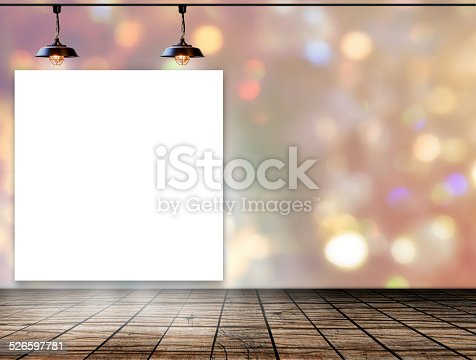 istock Blank frame on bokeh background with Ceiling lamp 526597781