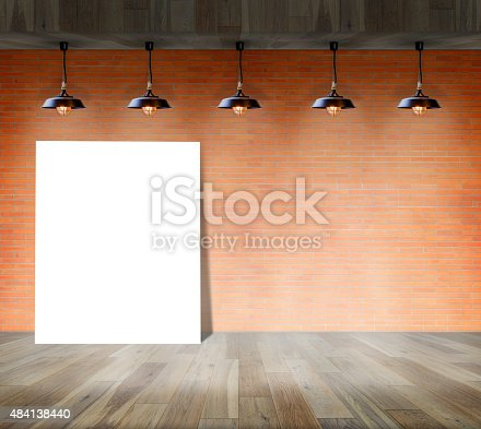 istock Blank frame on brick wall information message 484138440