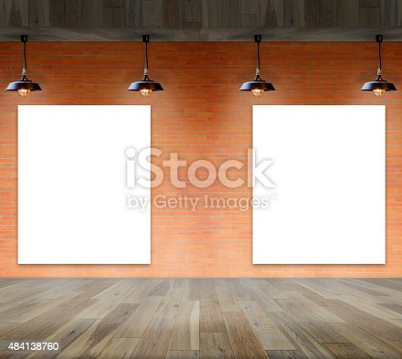 istock Blank frame on brick wall information message 484138760