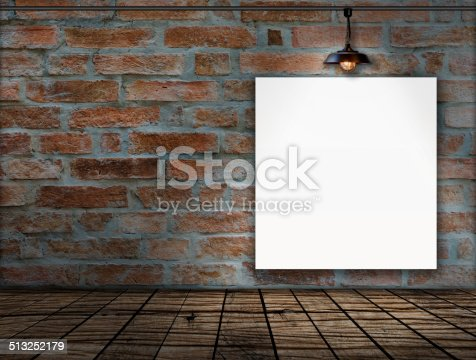 istock Blank frame on brick wall information message 513252179