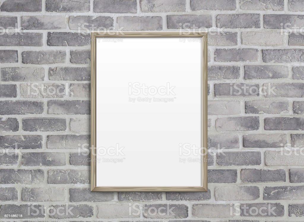 blank frame on grey birck wall photo libre de droits