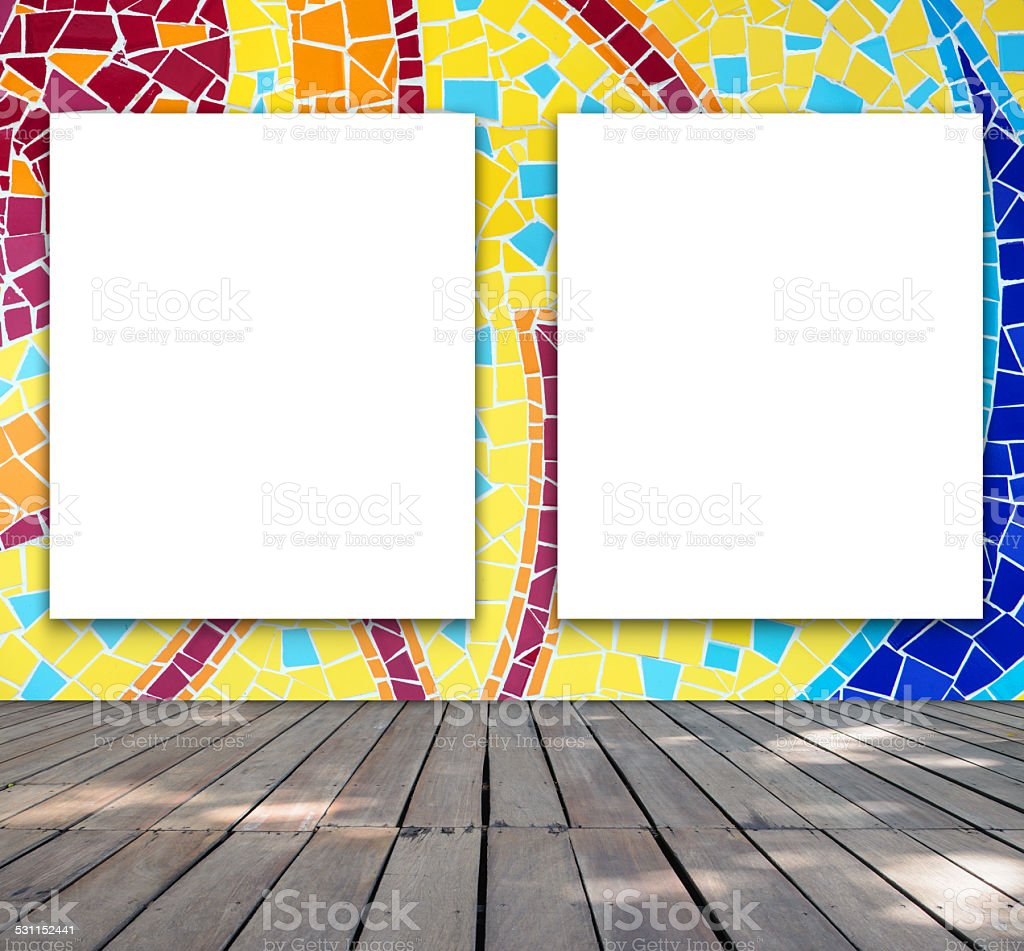 Blank Frame On Mosaic Tile For Information Message Stock Photo ...