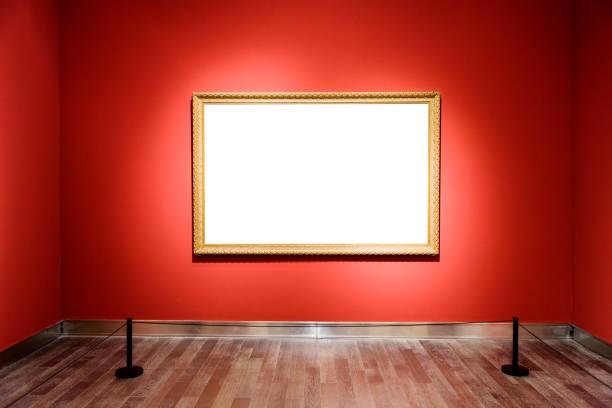 空白フレームの壁 - 美術館 ストックフォトと画像