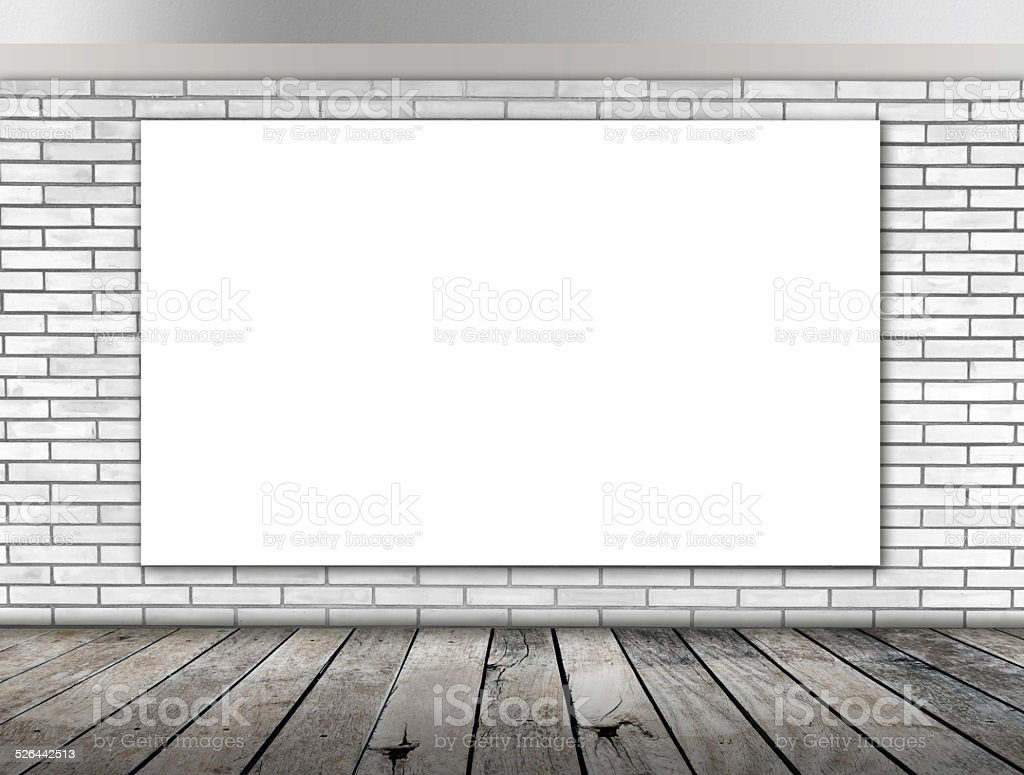 Blank frame on White brick wall and wood floor stock photo
