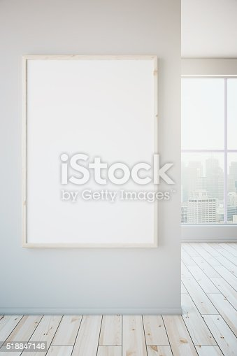 istock Blank frame on white wall 518847146