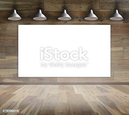 istock Blank frame on wood wall with Ceiling lamp 478399016