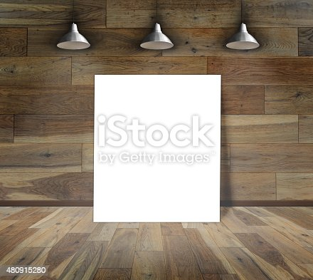 istock Blank frame on wood wall with Ceiling lamp 480915280