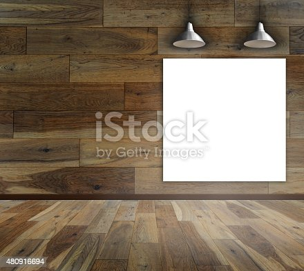 istock Blank frame on wood wall with Ceiling lamp 480916694
