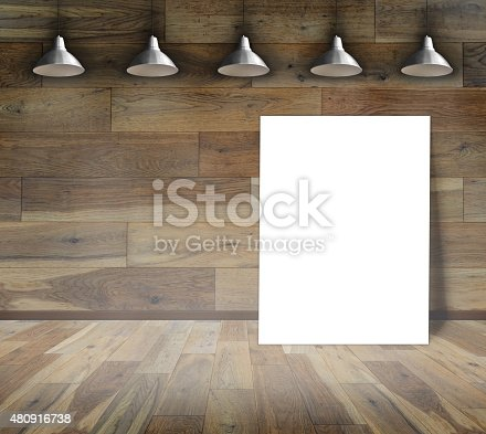 istock Blank frame on wood wall with Ceiling lamp 480916738