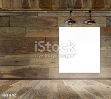 istock Blank frame on wood wall with Ceiling lamp 480916760
