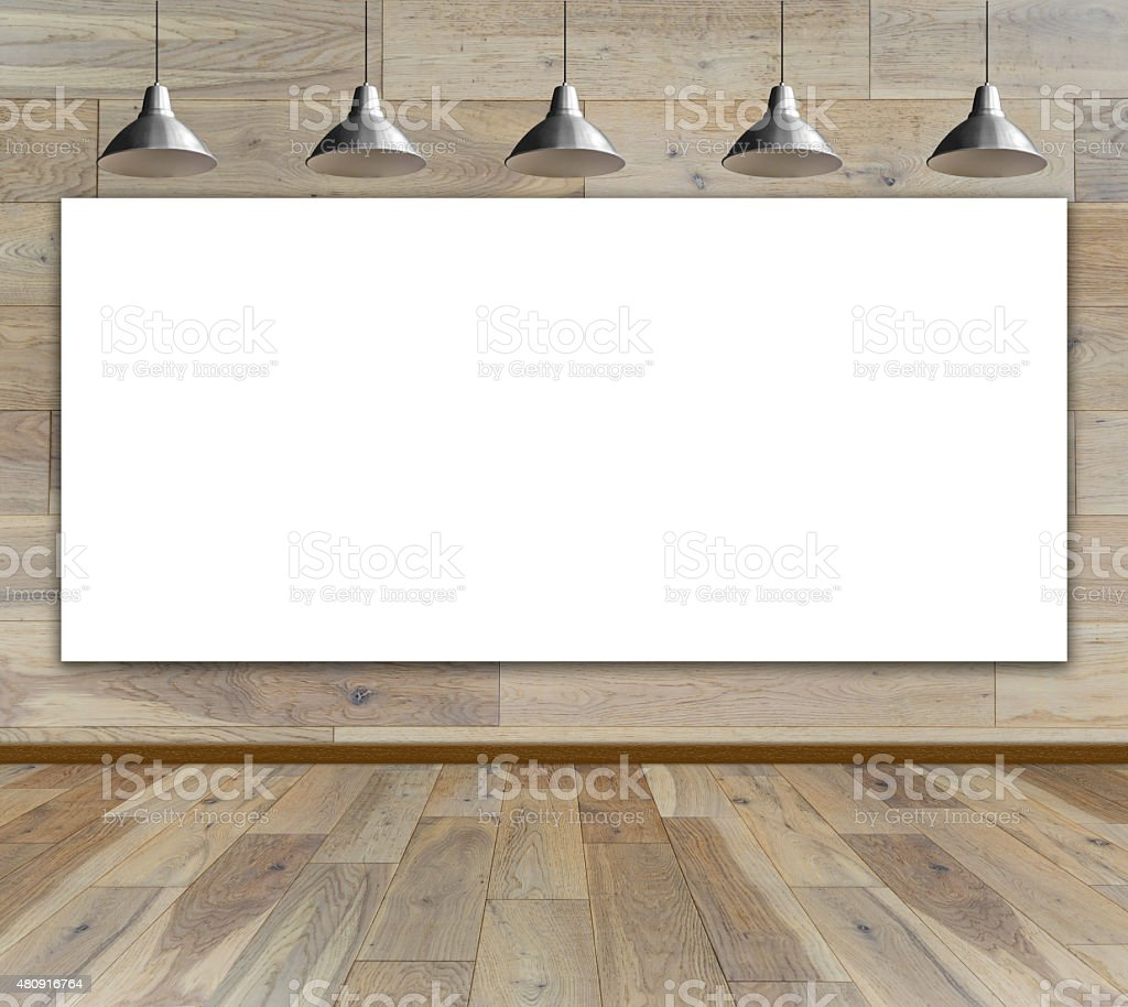 Blank Frame On Wood Wall With Ceiling Lamp Stock Photo & More ...