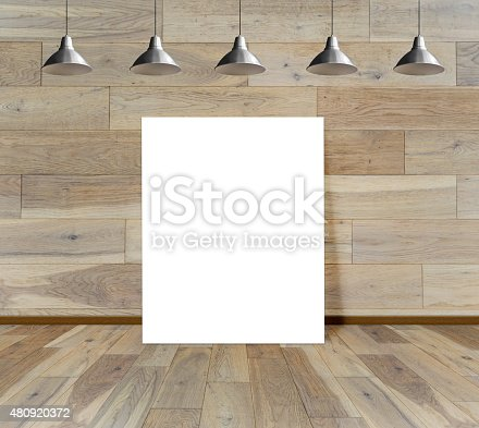 istock Blank frame on wood wall with Ceiling lamp 480920372