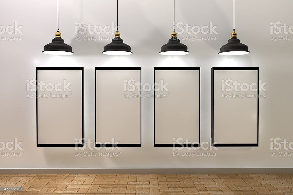 blank frame poster in room with ceiling lamp stock photo
