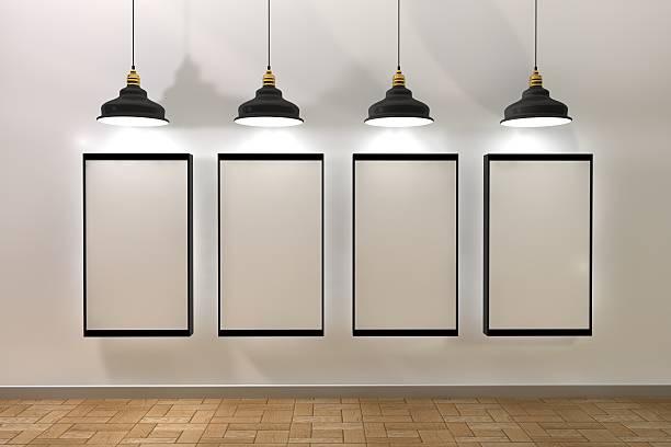 Leeres frame poster im Zimmer mit Lampe aus – Foto