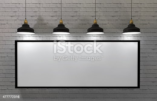 istock blank frame poster in room with ceiling lamp 477772316