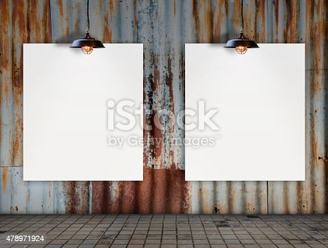istock Blank frame with Ceiling lamp in Dirty tile room 478971924