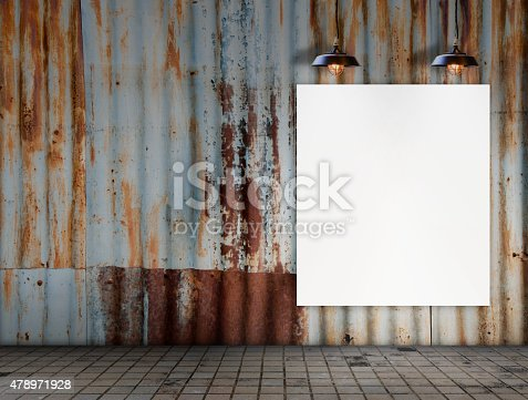 istock Blank frame with Ceiling lamp in Dirty tile room 478971928