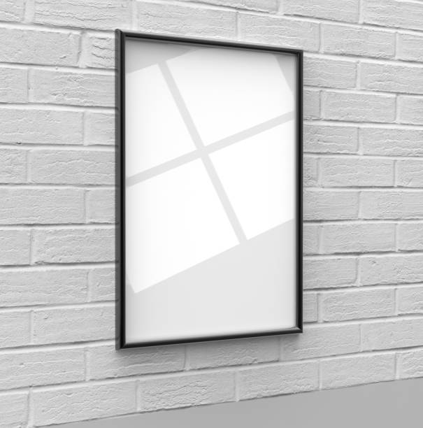 blank frames for posters, pictures, arts, drawings, scenery and print templates, mock up template on wall background. 3d render illustration. ready for your design - disdainful stock pictures, royalty-free photos & images