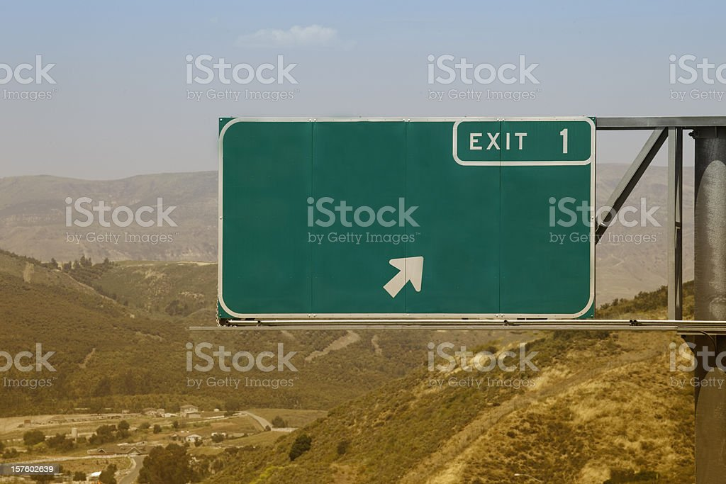 Blank Freeway Exit One Sign stock photo
