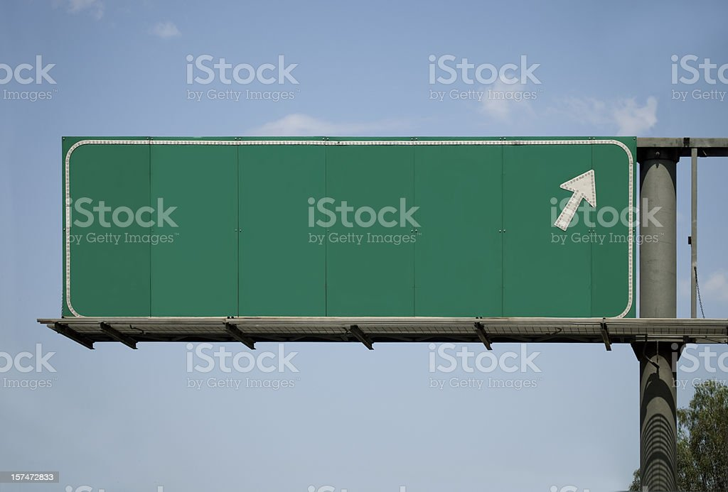 Blank Freeway Sign With Arrow stock photo
