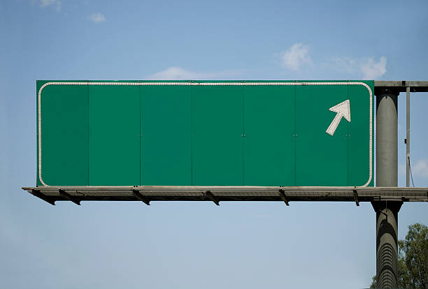 Blank Freeway Sign With Arrow  interstate stock pictures, royalty-free photos & images