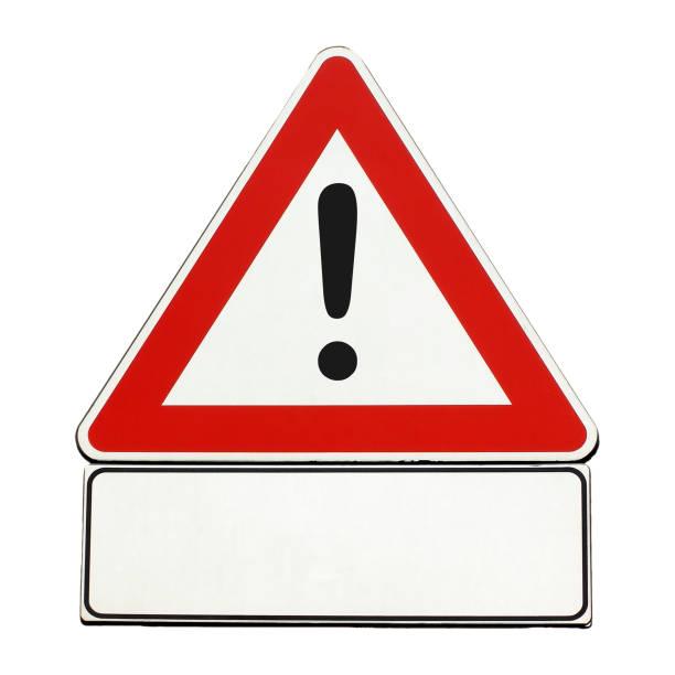 sinal de advertência genérica em branco isolado sobre o branco - foto de acervo