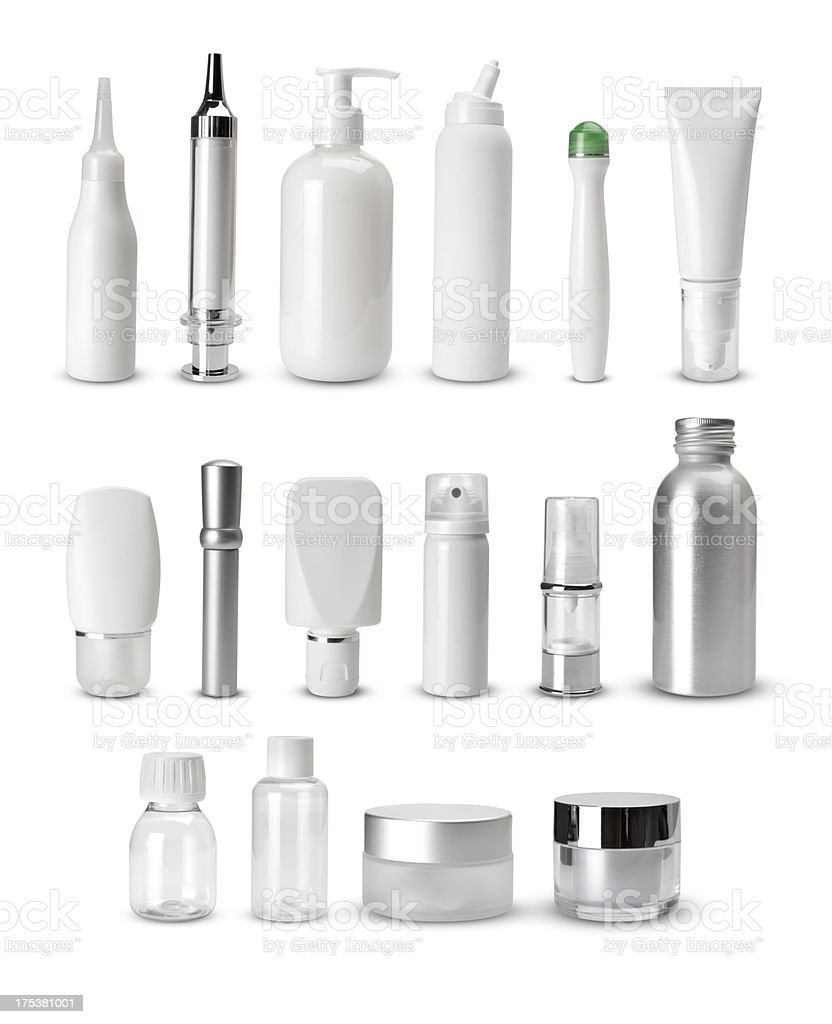 blank generic cosmetics containers stock photo