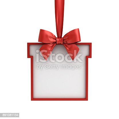 istock Blank Gift box frame hanging with red ribbon and bow isolated on white background 891081134