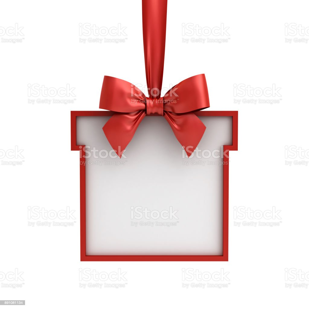 Blank Gift box frame hanging with red ribbon and bow isolated on white background stock photo