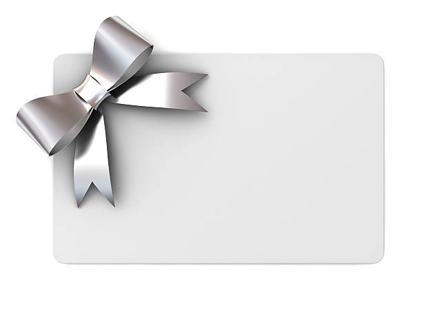 blank gift card with silver ribbon bow - gift tag note stock photos and pictures