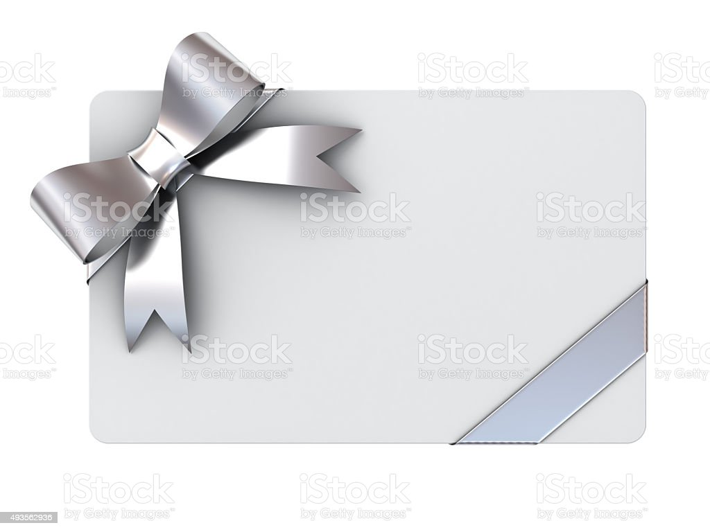 Blank gift card with silver ribbons and bow stock photo