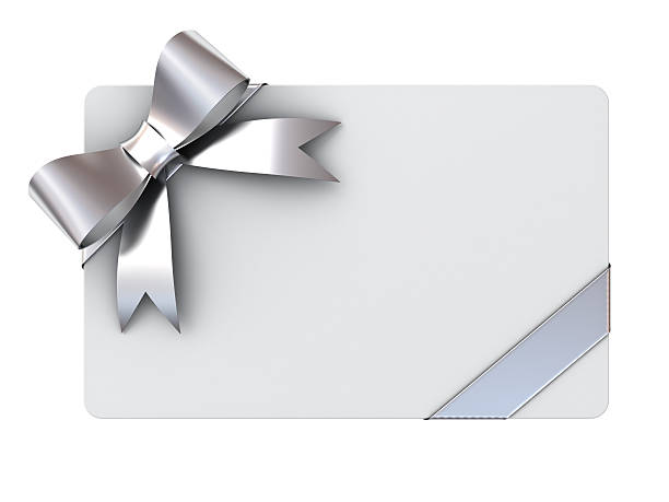 blank gift card with silver ribbons and bow - gift tag note stock photos and pictures