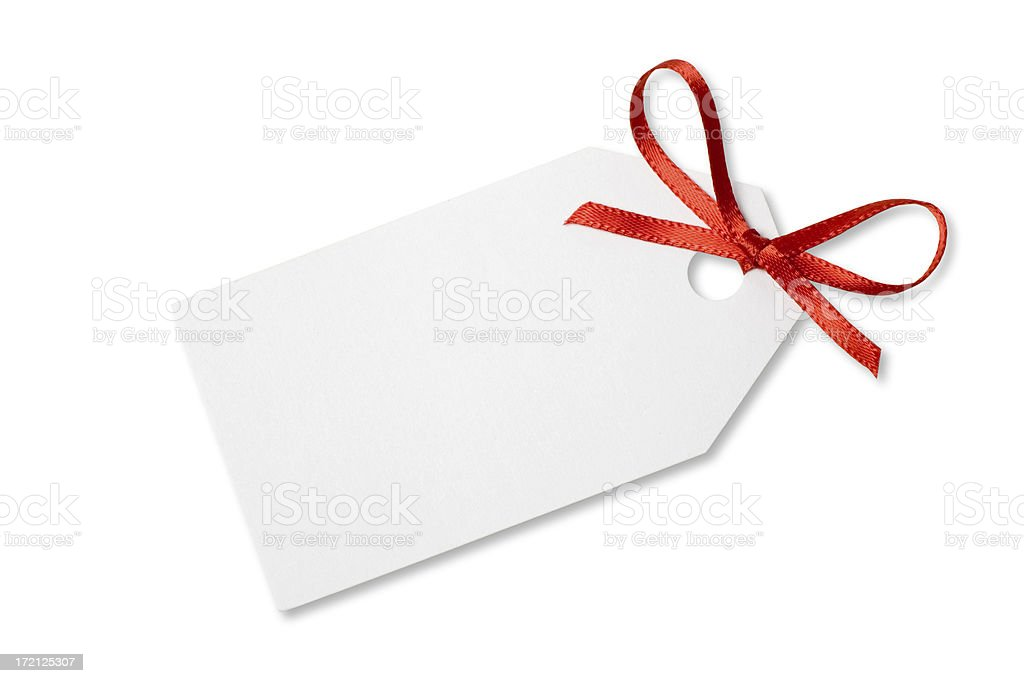 Blank Gift  or Price Tag on White with Clipping Path