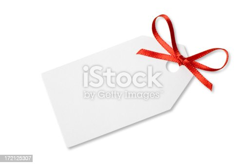 A blank gift tag tied with red ribbon on a white background.  Clipping Path included.