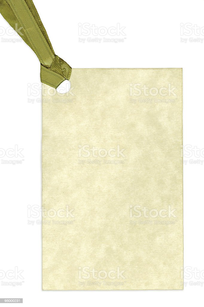 Blank Gift Tag Isolated on White Background royalty-free stock photo