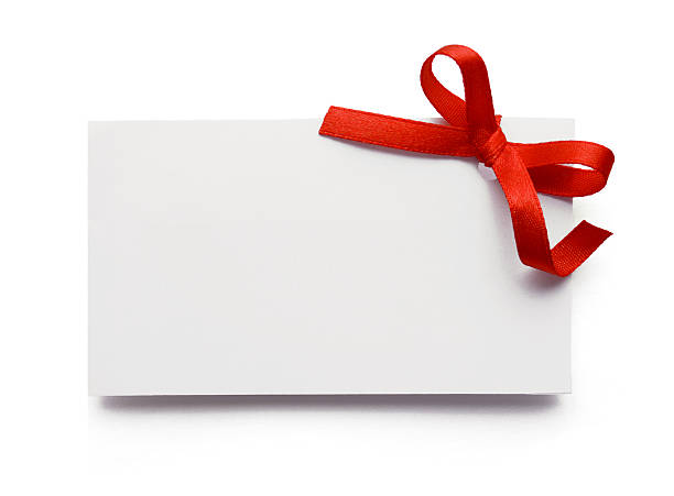 Royalty free blank gift tag tied with a bow of red ribbon pictures blank gift tag stock photo negle Images