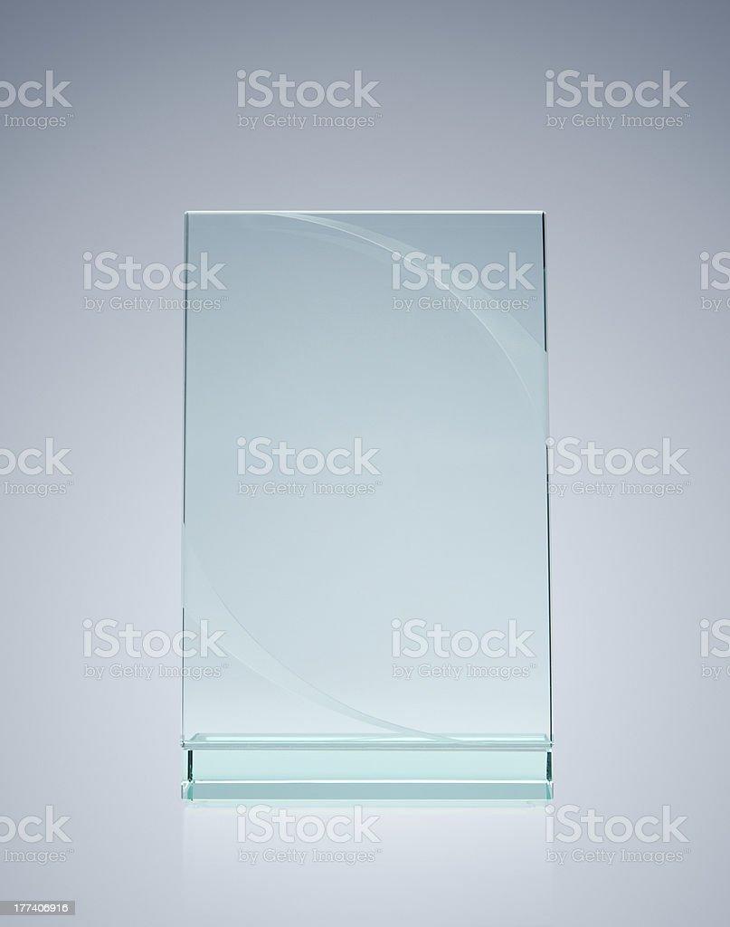 Blank glass award stock photo