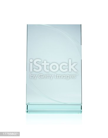 153984410istockphoto Blank glass award plate isolated with white background 177558021
