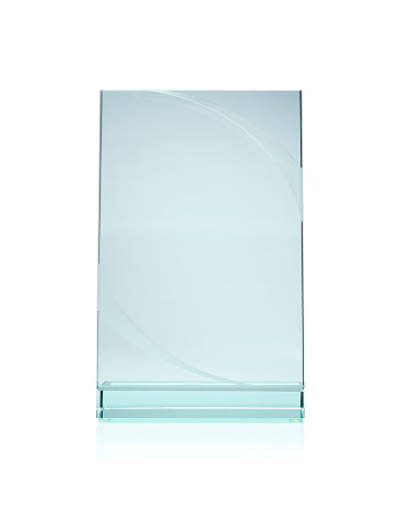 istock Blank glass award plate isolated with white background 177558021