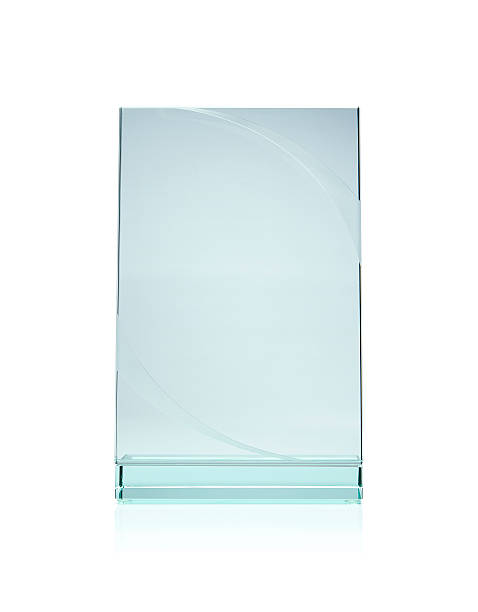 Blank glass award plate isolated with white background stock photo