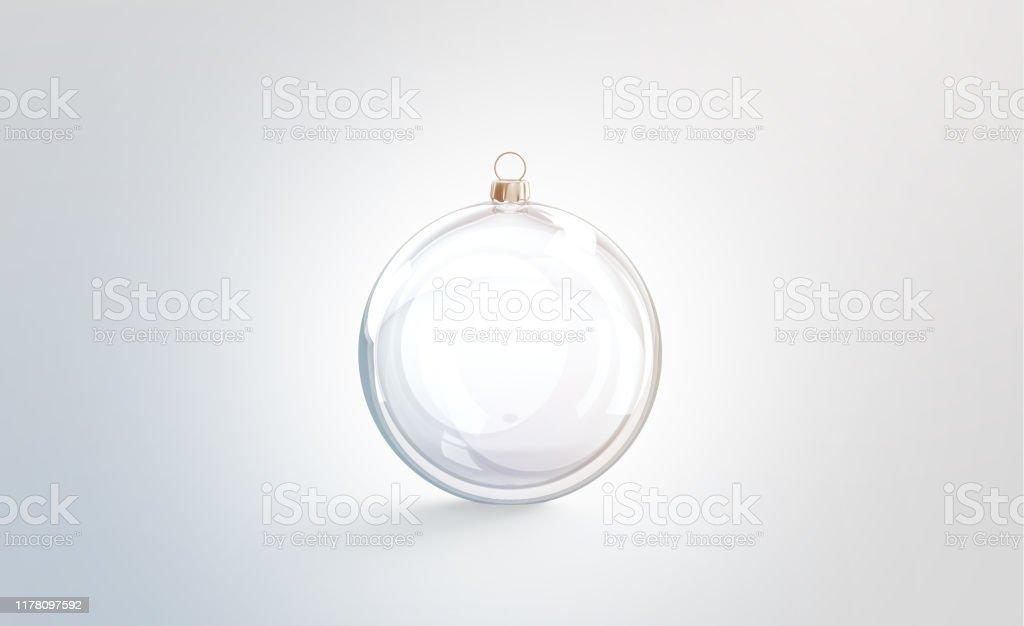 Bille de Noel en verre blanc pour la maquette d'arbre, d'isolement - Photo de Arbre libre de droits