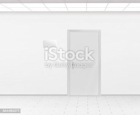 istock Blank glass name plate design mockup near door, 3d render. 544484072