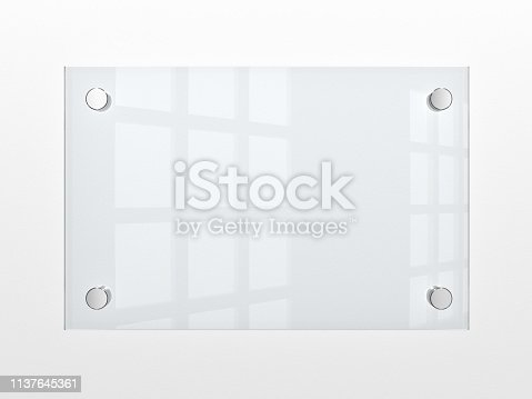 Closeup of wall-mounted blank glass nameplate. 3d illustration.