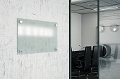 Blank Glass Nameplate sign with Office. 3D Render